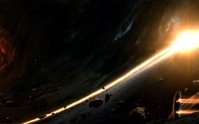 Обои корабль, планеты, галактика, дыра, астероиды, шлейф, черная, звезды, огненный