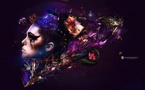 Картинка цветы, девушка, профиль, desktopography