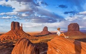 Картинка девушка, пейзаж, Monument Valley