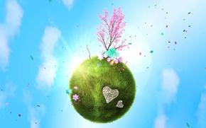 Картинка любовь, планета, весна, зеленая, деревце