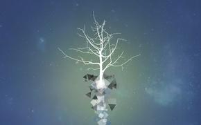 Обои космос, звезды, вектор, Дерево, арт