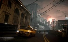Картинка закат, мост, дождь, вечер, такси, нью йорк, Grand Theft Auto IV