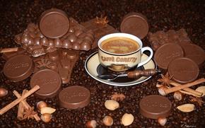 Обои орехи, кофейные зерна, бадьян, шоколад, корица, кофе