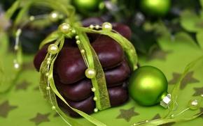 Картинка праздник, игрушки, новый год, лента, сладости, декорации, happy new year, christmas decoration, новогодние обои, christmas …
