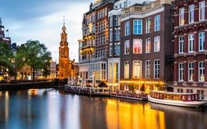 Картинка здания, Амстердам, канал, Нидерланды, набережная, Amsterdam, теплоход, Netherlands, Munt Tower, Монетная башня