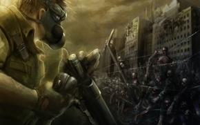 Картинка проволока, солдат, зомби, противогаз, обрез, колючая, бронежилет