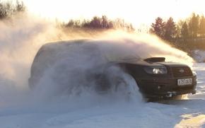 Обои Солнце, Снег, Subaru, Лучи