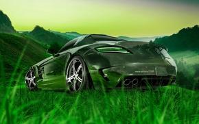 Картинка Mercedes-Benz, Природа, Авто, Трава, Машина, Мерседес, Обои, Car, Nature, Grass, Арт, Art, Зеленая, Photoshop, Фотошоп, …