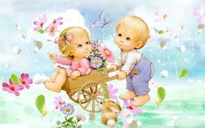 Картинка лето, цветы, мальчик, арт, девочка, зайчик, детская