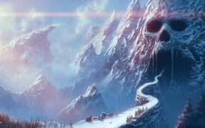 Картинка дорога, горы, мост, фентези, череп, арт, ущелье, пещера, грот