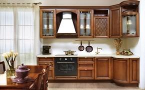 Картинка цветы, дизайн, стол, стулья, интерьер, кухня, ваза, шкаф, гарнитур