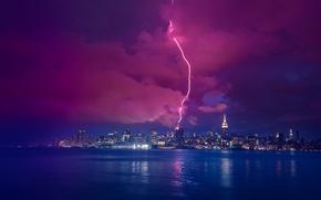 Картинка река, молния, Нью-Йорк, ночной город, Манхэттен, Manhattan, New York City, Hudson River, Гудзон
