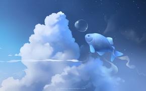 Обои облака, голубой, рыба, пузырь, apofiss