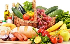 Картинка зелень, лимон, яблоки, яйца, сыр, лук, хлеб, виноград, бананы, перец, фрукты, корзинка, овощи, помидоры, томаты, ...