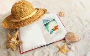 Картинка песок, шляпа, книга, ракушки, морские звёзды