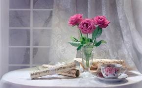 Картинка цветы, натюрморт, окно, чашка, ноты, розы