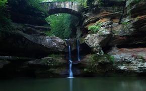 Картинка водопад, Природа, Мост, Лес