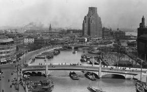 Картинка ретро, река, старое, Шанхай, набережная, 1930е годы