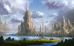 Картинка вода, горы, мост, город, башня, арт, фантастический мир
