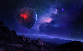 Обои горы, ландшафт, планета, спутник, звездное небо, ночь, космос, туманность