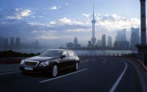 Картинка машины, города, widescreen, дороги, америка, майбах, maybach 62 s