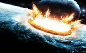 Обои столкновение, планета, взрыв