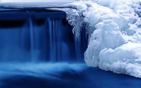 Картинка холод, лед, зима, снег, природа, река, водопад