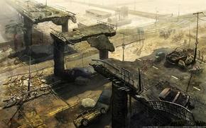 Обои ivan kashubo, мост, арт, пальма, машины, руины, разруха