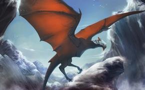 Картинка горы, птицы, природа, кровь, дракон, арт, udonnodu
