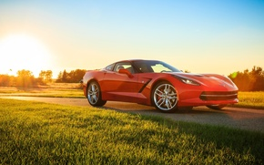 Обои chevrolet corvette, stingray, car, red, корвет