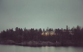 Картинка море, деревья, пейзаж, огни, дом, остров, Ночь, Швеция