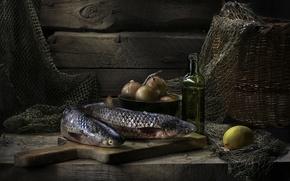 Картинка рыба, лимон, масло, лук