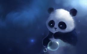 Картинка взгляд, рисунок, шарик, панда, apofiss