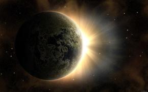 Обои солнце, рассвет, земля, планета, звезды