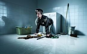 Картинка вещи, ведро, police, стирка, швабра, полицейский, стиральная машина