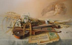 Картинка ноты, фон, widescreen, обои, скрипка, ангел, картина, wallpaper, живопись, широкоформатные, background, красивые обои, обои на …