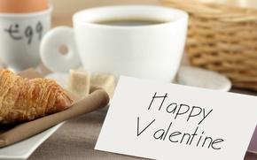 Картинка завтрак, день, посуда, валентинка, праздники, влюбленных