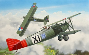 Картинка art, airplane, painting, aviation, biplane, Letov Š-20