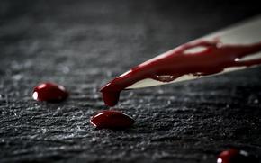 Обои нож, кровь, макро