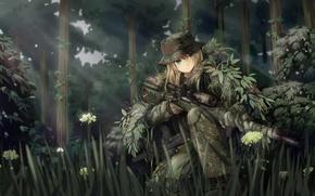 Картинка лес, девушка, оружие, солдат, снайпер, камуфляж, art, tc1995