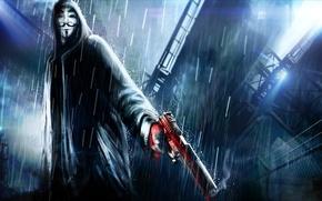 Обои оружие, капюшон, арт, v for vendetta, Анонимус, дождь, город, Anonymous, ночь, пистолет