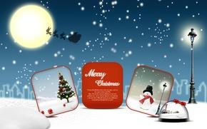 Картинка снег, луна, vector, елка, новый год, вектор, Рождество, снеговик, moon, new year, Christmas, snow, snowman, ...