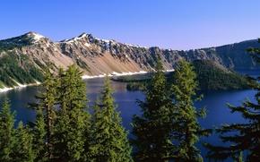 Обои вид, деревья, озеро, небо, природа