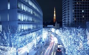Картинка город, Токио, ночной город, столица Японии, Tokio