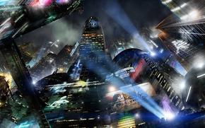 Картинка город, будущее, фантастика, здания, future, City, fantasy, небоскрёбы, мегаполис, sci-fi, прожекторы, софиты, buildings, skyscrapers, Scott …