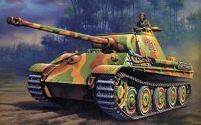 Картинка war, art, painting, tank, ww2, Panzer V 'Panther' Ausf. D