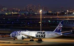 Картинка город, огни, вечер, Boeing, самолёт, реактивный, пассажирский, 787-9