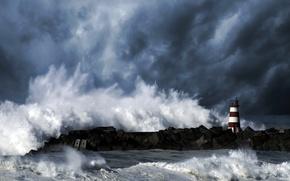 Картинка волны, небо, тучи, шторм, океан, стихия, маяк