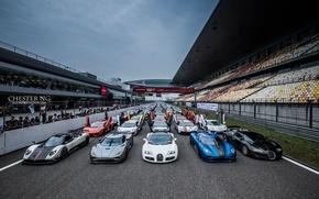 Картинка bugatti, supercar, суперкары, track, lamborgini