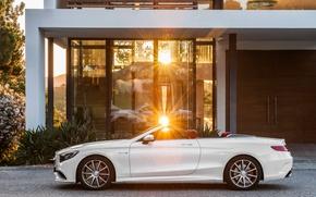 Картинка солнце, Mercedes-Benz, белая, кабриолет, сбоку, мерседес, AMG, S 63, S-Class, 2015, A217